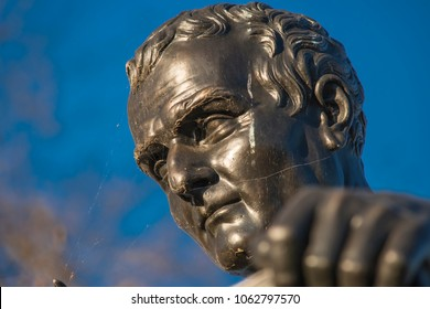 Geneva - Switzerland - 03/17/2014: Close-up on bronze statue of Jean-Jacques Rousseau (1712-1778) made in 1834 by James Pradier (1790-1852).