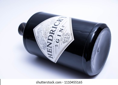 Geneva/ Switzerland - 10.06.2018 :Bottle of Hendrick's Gin isolated on white