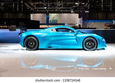 Geneva, Switzerland 11. March 2019 Blue electric racecar Arcfox GT Race edition at Geneva International Motor Show 2019.