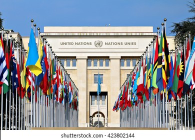 GENEVA, SWITZERLAND - 12 MARCH 2016: The Palace of Nations, headquarters of the United Nations in Geneva, Switzerland. The UN was established in Geneva in 1947 & this is the second largest UN office.