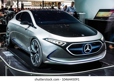 Geneva, Switzerland 13. March 2018 Front view of Mercedes Benz EQA concept electric car at 88th Geneva International Motor Show.