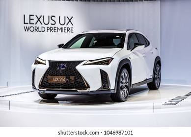 Geneva, Switzerland 13. March 2018 Front side view of White Lexus UX Compact Crossover at 88th Geneva International Motor Show.