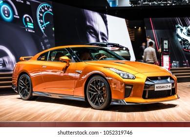 Geneva, Switzerland 13. March 2018 Front side view of orange Nissan GT-R at Geneva International Motor Show.