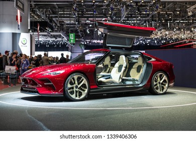 Geneva, Switzerland 13. March 2019 Italdesign DaVinci Electric GT concept car at the Geneva International Motor Show 2019.