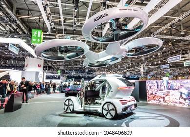 Geneva, Switzerland 14. March 2018 Audi, Airbus and Italdesign mobility concept named Pop.Up at 88th Geneva International Motor Show.