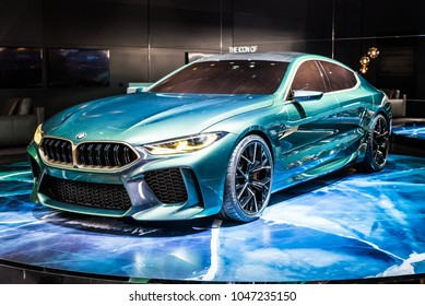 Geneva, Switzerland 15. March 2018 BMW M8 Gran Coupe concept car at 88th Geneva International Motor Show.