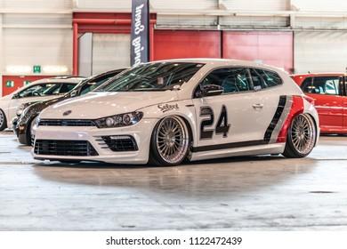 Geneva, Switzerland 24. June 2018 White Volkswagen Scirocco with air-suspension at Swiss Car Event 2018 car show.