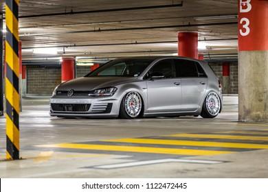 Geneva, Switzerland 24. June 2018 Tuned Volkswagen Golf MK7 with air suspension at the parking garage of Swiss Car Event 2018 car show.