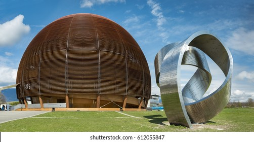 GENEVA, SWITZERLAND, 26 MARCH 2017: The Globe of Science & Innovation and the 15-tonne steel sculpture in CERN. The sculpture was designed by Canadian artist Gayle Hermick