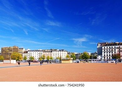 GENEVA - SWITZERLAND, 26 OCTOBER 2017 : Plaine de Plainpalais is a huge open space of a rhombus shape located in city district in central-south of Geneva, Switzerland, Europe