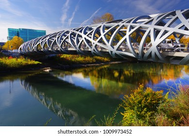 GENEVA - SWITZERLAND, 28 OCTOBER 2017 : Hans Wildorf Bridge, landmark of Geneva, Switzerland, Europe