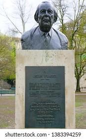 GENEVA, SWITZERLAND -4 APR 2019- View of a bust statue of Swiss psychologist Jean Piaget in the Parc des Bastions in Geneva, Switzerland.