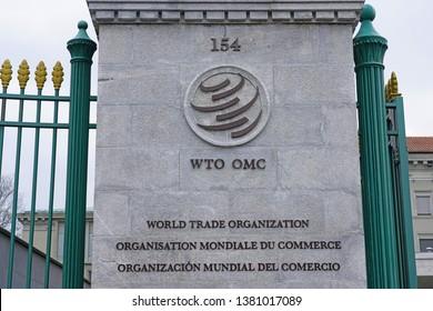 GENEVA, SWITZERLAND -5 APR 2019- View of the headquarters of the World Trade Organization (WTO), located in Centre William Rappard along Lake Geneva.