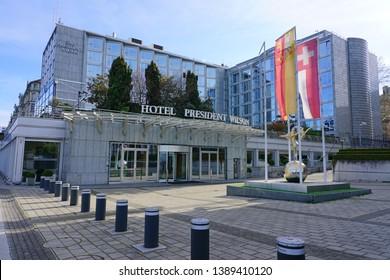 GENEVA, SWITZERLAND -5 APR 2019- View of the Hotel du President Wilson, a landmark Luxury Collection hotel waterfront building on the lake in Geneva, Switzerland.