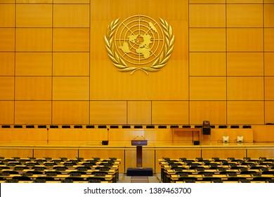GENEVA, SWITZERLAND -5 APR 2019- Interior view of the United Nations Office at Geneva (UNOG) located in the Palais des Nations building in Geneva, Switzerland.