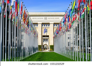 GENEVA, SWITZERLAND -5 APR 2019- Exterior view of the United Nations Office at Geneva (UNOG) located in the Palais des Nations building in Geneva, Switzerland.