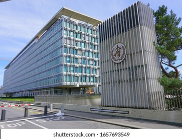 GENEVA, SWITZERLAND -5 APR 2019- Exterior view of the building of the World Health Organization (OMS WHO), a United Nations international organization located in Geneva, Switzerland.