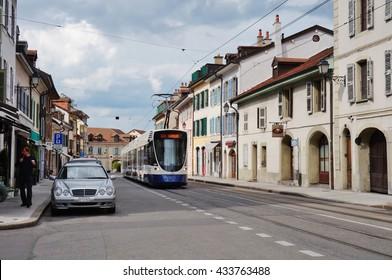GENEVA, SWITZERLAND -5 JUNE 2016- Carouge is a neighborhood of Geneva built in an Italian, Mediterranean style near the River Arve.