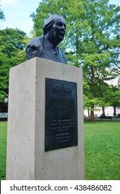 GENEVA, SWITZERLAND -5 JUNE 2016- A bust statue of Swiss psychologist Jean Piaget in the Parc des Bastions in Geneva, Switzerland.