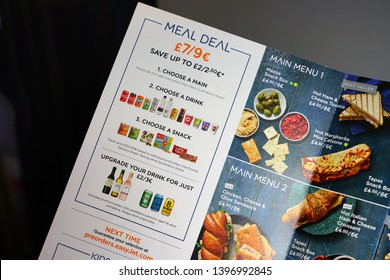 GENEVA, SWITZERLAND -6 APR 2019- Interior cabin view of the meal menu card in an airplane from British low-cost airline EasyJet (U2).
