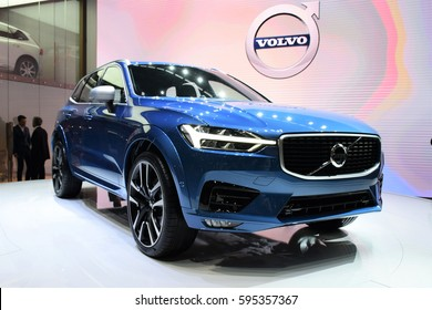 Geneva, Switzerland - 7 March 2017: The premiere of Volvo XC60 during the Geneva Motor Show 2017.