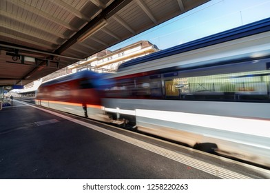 Geneva, Switzerland. 7th December 2018. Swiss Intercity train about to depart Cornavin station.