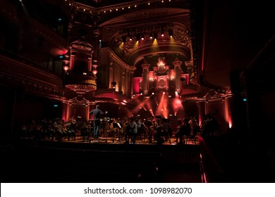 Geneva, Switzerland - 8 May 2018: The UN Orchestra conducted by Antoine Marguier in rehearsal at the Victoria Hall on the  occasion of Europe Day 2018.