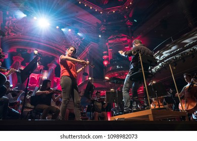 Geneva, Switzerland - 8 May 2018: The UN Orchestra conducted by Antoine Marguier with soloist Liya Petrova in rehearsal at the Victoria Hall on the occasion of Europe Day 2018.