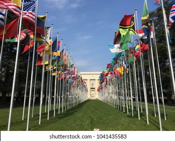 GENEVA, SWITZERLAND - 9 APRIL 2017: National flags at the entrance of UN office in Geneva, Switzerland. The UN was established in Geneva in 1947 & is the second largest UN office. Editorial.