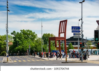 Geneva, Switzerland - April 04,2018: The Place of Nations,  gigantic 'Broken Chair'. Around are the headquarters of about 250 international organizations. Artist Daniel Berset.