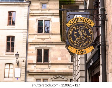 GENEVA, SWITZERLAND - APRIL 1, 2018:  Sign of the Christies Auction House, Christies is the leader of the world art market