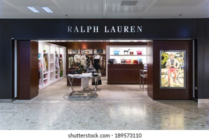 GENEVA, SWITZERLAND - April 15, 2014: A Ralph Lauren outlet. Best known for the Polo Ralph Lauren clothing brand, Forbes estimated his wealth at $6.5 billion dollars in 2012.