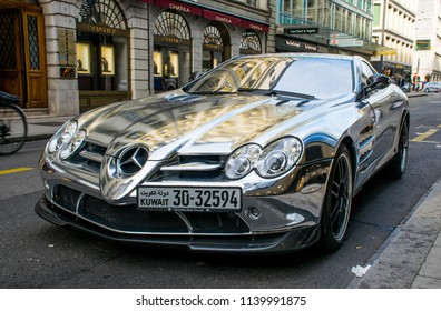 Geneva / Switzerland - Aug 2015: The silver reflection color Mercedes Benz in the downtown. The luxury modern sport car.
