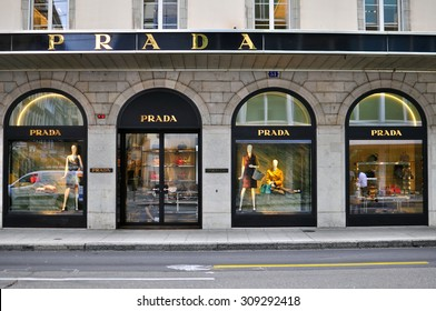 GENEVA, SWITZERLAND - AUGUST 17: Prada flagship store in Geneva on August 17, 2015. Prada is a world famous fashion brand founded in Italy.