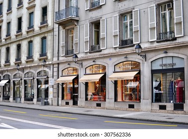 GENEVA, SWITZERLAND - AUGUST 17: View of the shopping street in Geneva city centre on August 17, 2015. Geneva is the second largest city of Switzerland.