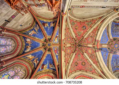 Geneva Switzerland August 29 2017 Geneva Switzerland In the St. Pierre Cathedral , The Chapel of the Maccabees, is the first realization of the flamboyant Gothic in Geneva