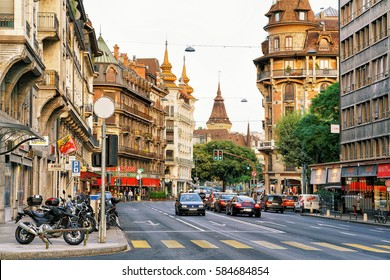 Geneva, Switzerland - August 30, 2016: Building architecture on Avenue Pictet-de-Rochemont, Geneva city center, Switzerland. People on the background