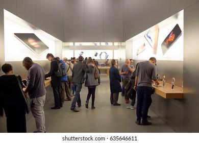 GENEVA, SWITZERLAND - CIRCA NOVEMBER, 2015: inside Apple store in Geneva. Apple is an American multinational technology company.