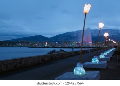 Geneva / Switzerland - december 01, 2008 : during the month of December the trees receive luminous ornaments created by artists