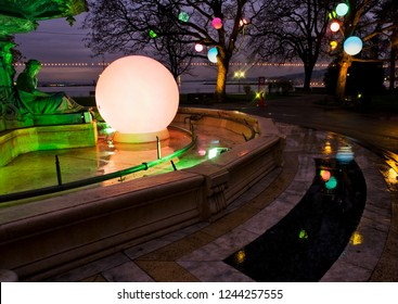 Geneva / Switzerland - december 03, 2009 : during the month of December the trees receive luminous ornaments created by artists