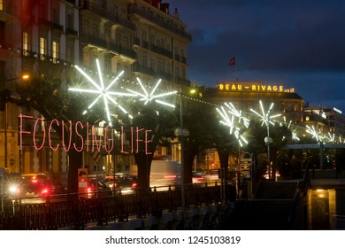 Geneva / Switzerland - december 05, 2009 : during the month of December the trees receive luminous ornaments created by artists