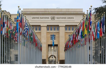 GENEVA, SWITZERLAND - December 17, 2017:  Allee des Nations (Avenue of Nations) of the United Nations Palace in Geneva, with flags of the member countries.