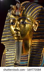 GENEVA, SWITZERLAND - DECEMBER 17: Tutankhamun's magnificent golden death mask at the Tutankhamun exhibition :  December 17, 2013 in Geneva Switzerland
