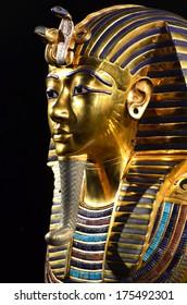 GENEVA, SWITZERLAND - DECEMBER 17: Tutankhamun's death mask at the Tutankhamun exhibition :  December 17, 2013 in Geneva Switzerland