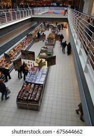 GENEVA, SWITZERLAND - FEB 15, 2014 - Customers in large supermarket in Geneva, Switzerland