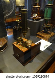GENEVA, SWITZERLAND - FEB 24, 2018 - Vintage microscopes on display at the History of Science Museum in Geneva, Switzerland