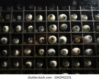 GENEVA, SWITZERLAND - FEB 24, 2018 - Artificial eyeballs in a collection at the History of Science Museum in Geneva, Switzerland