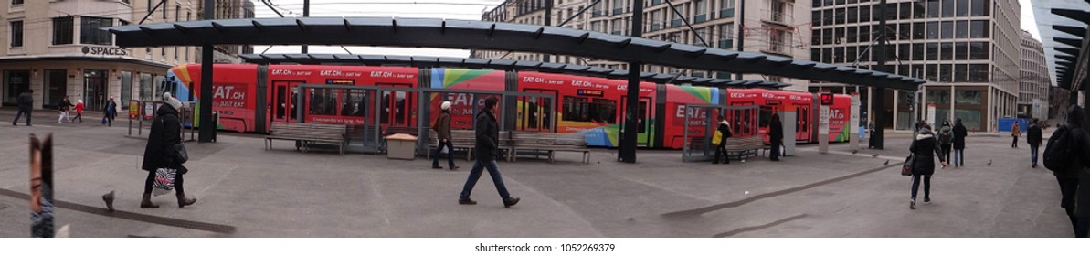 GENEVA, SWITZERLAND - FEB 24, 2018 - Mass transit in the urban center of  Geneva, Switzerland