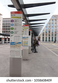 GENEVA, SWITZERLAND - FEB 24, 2018 - Mass transit center in the urban center of  Geneva, Switzerland