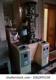 GENEVA, SWITZERLAND - FEB 24, 2018 - Scanning electron microscope, at the History of Science Museum in Geneva, Switzerland